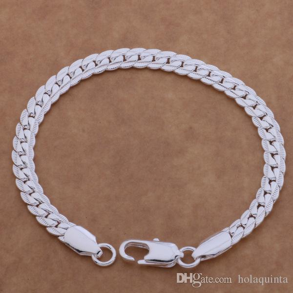 wholesale silver bracelet fashion jewelry 6MM 20cm sideways Flat chain Bracelet Armband/pulsera for women/ men