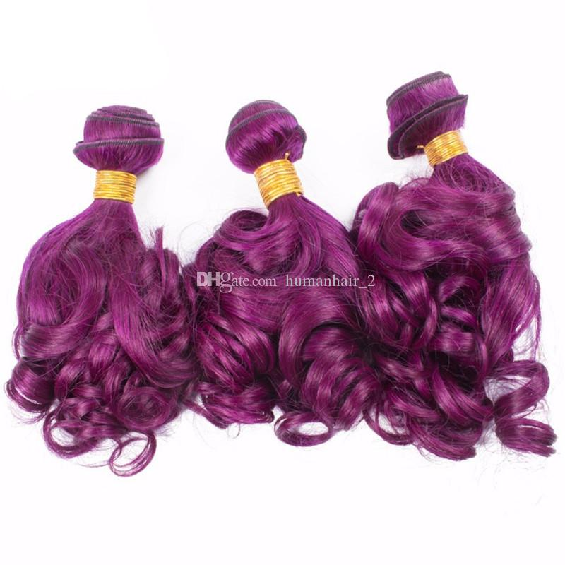 Romantic Curl New Arrive Purple Human Hair With Lace Closure Funmi Hair Color Purple 3Bundles With Lace Closure Virgin Brazilian Hair