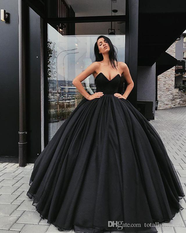 Discount 2018 Black Ball Gown Gothic Wedding Dress Floor Length