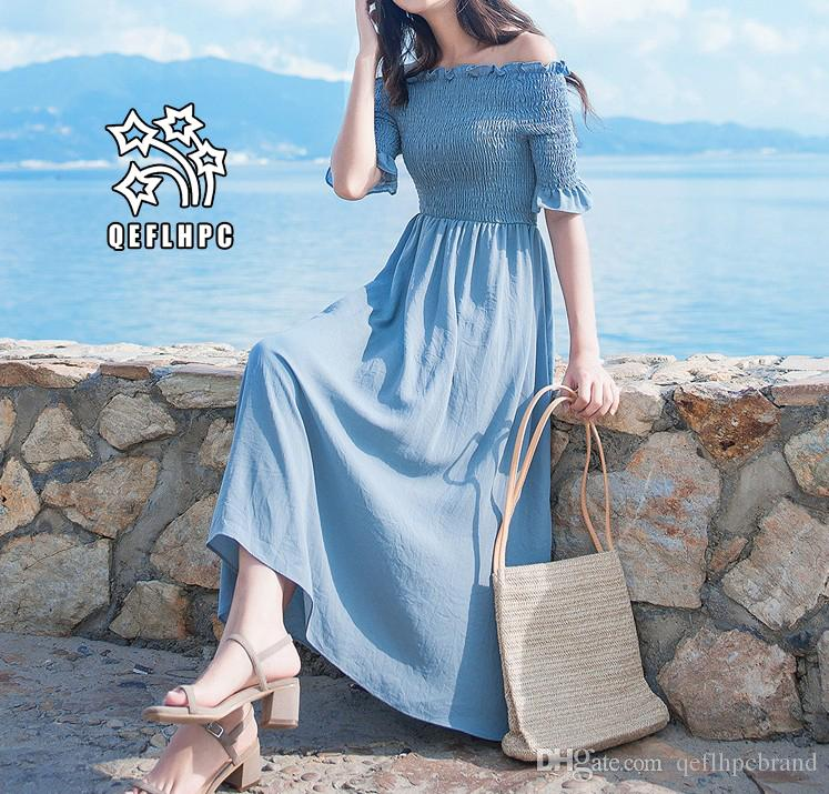 374df8c03a0 Women'S Clothes Dress Summer Sexy Beach Chiffon Dress Thin Polyester  Material Casual Dresses Chambray Longuette Slash Neck A21743 White Lace Dress  Casual ...