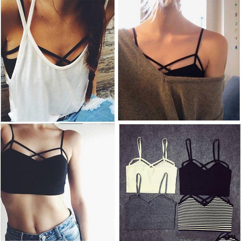 10c7c8293f 2016 New Fashion Sexy Women Strappy Padded Bra Bustier Bra Bralette Corset  Crop Tops Tank Top Blouse Black White Cheap Z1 UK 2019 From Paluo