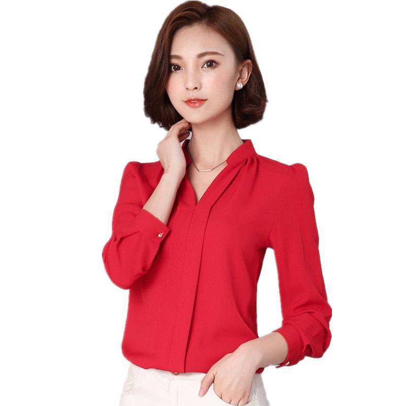 85c20e3d2ea3 Женщины блузки шифон блузка Feminina топы с длинным рукавом мода сорочка  Femme женщины ...