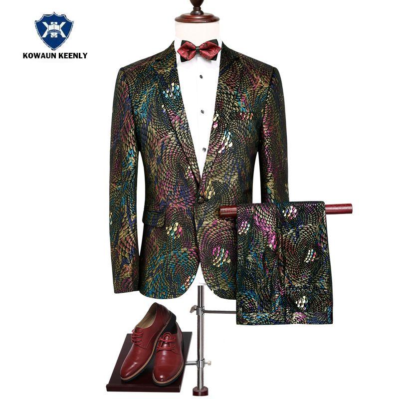 b4b8e982b6da5f 2019 Shiny Floral Stage Wear Singer Suit Tuxedos Jacket Latest Coat Pant  2017 Men Paisley Sequins Blazer Male Wedding Costume Suit From Vikey16, ...