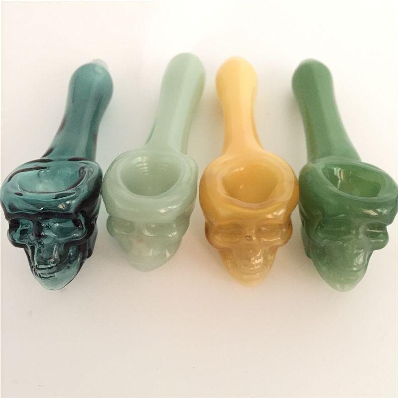 Pyrex Oil Burner Pipas Cráneo grueso Fumar cuchara de mano Tubería 3,93 pulgadas de tabaco Dry Herb para silicona Bong Glass Bubbler