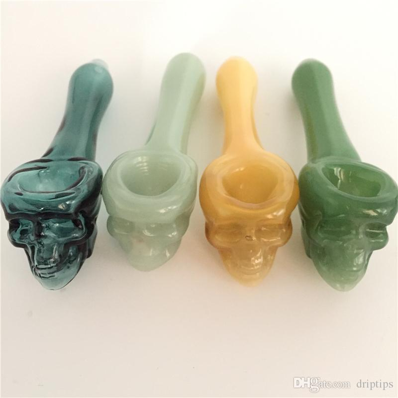 Pyrex Oil Burner Pipes Thick skull Smoking Hand spoon Pipe 3.93 inch Tobacco Dry Herb For Silicone Bong Glass Bubbler