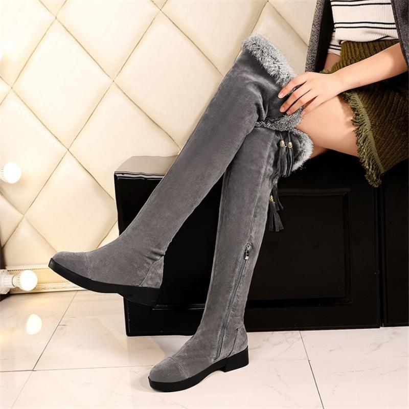 c17d4edebdb Thigh Long Snow Boots Sexy Women Shoes Fashion Over Knee Boots Flock Nubuck  Shoes Black Gray Zip Fur Winter Plus Size 43 Sexy Shoes Boots Shoes From  Lemmenv ...