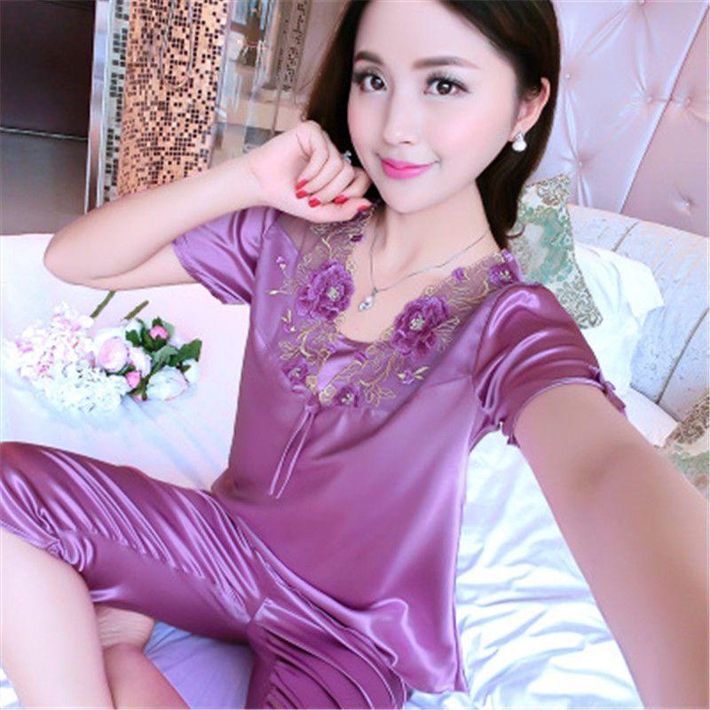 Women Satin Silk Lace Short Sleeve Casual Nightwear Sleepwear Pajama Set  Women Nightgowns Pyjama Femme Online with  30.77 Set on  Chongyangclothes002 s Store ... eeca714d5