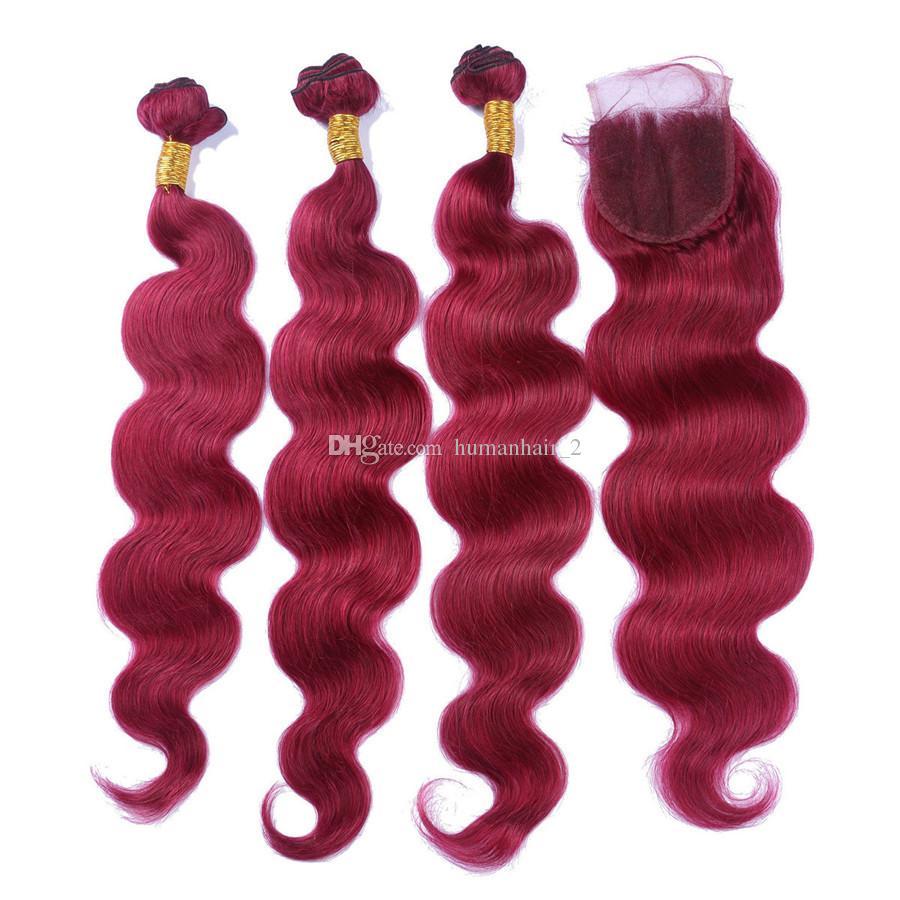Бразильские девственные человеческие волосы 99j пучки с кружевным закрытием тела волна 99j волос с 4x4 кружева закрытия свободного среднего три части