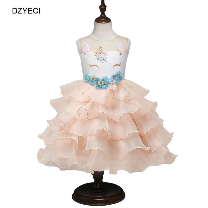 6bb263223 Compre Vestidos De Unicornio De Moda Para Niña Disfraz Elegante De Lujo  Fiesta De Fiesta Infantil Kid TUTU Encaje Princesa Frock Niños Ropa Túnica  A $20.81 ...