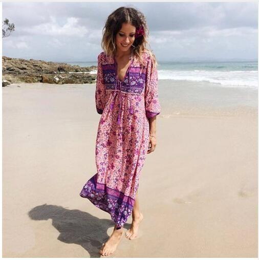 6d3e2bad9 Compre Vestidos Bohemios Boho Boho Rosado Nuevo Chic Maxi Dess Impreso  Algodón Floral Escote En V Manga Larga Vestidos De Verano Vestidos De Playa  A  26.14 ...