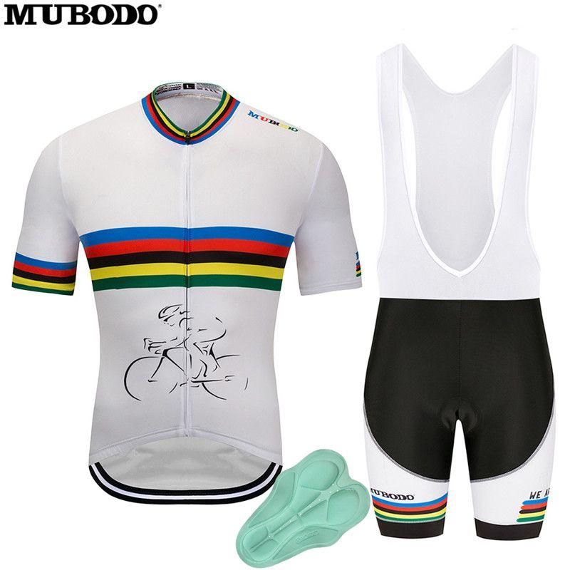 8d010c51f MUBODO 2018 Cycling Jersey Short Sleeves Men Ropa Ciclismo Rainbow ...