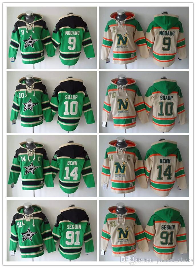 2019 Minnesota North Stars Hockey Men Jerseys 9 Mike Modano 91 Tyler Seguin  14 Jamie Benn Hoodies Hockey Hoodie Hooded Sweatshirt Jackets Jersey From  ... bf4a6cc9e