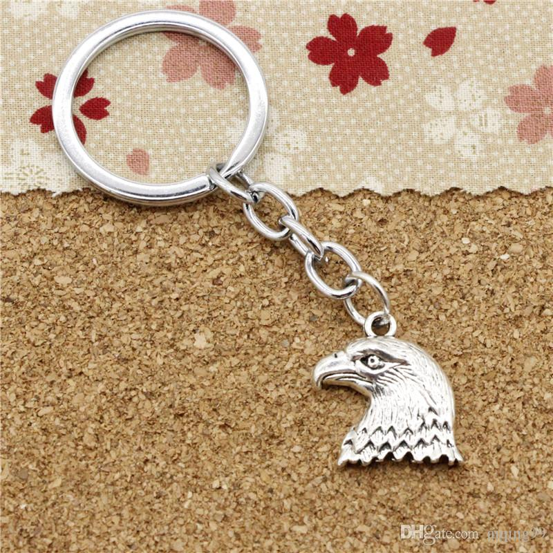 15pcs Fashion Diameter 30mm Metal Key Ring Key Chain Jewelry Antique Silver Plated hawk eagle 21*19mm Pendant