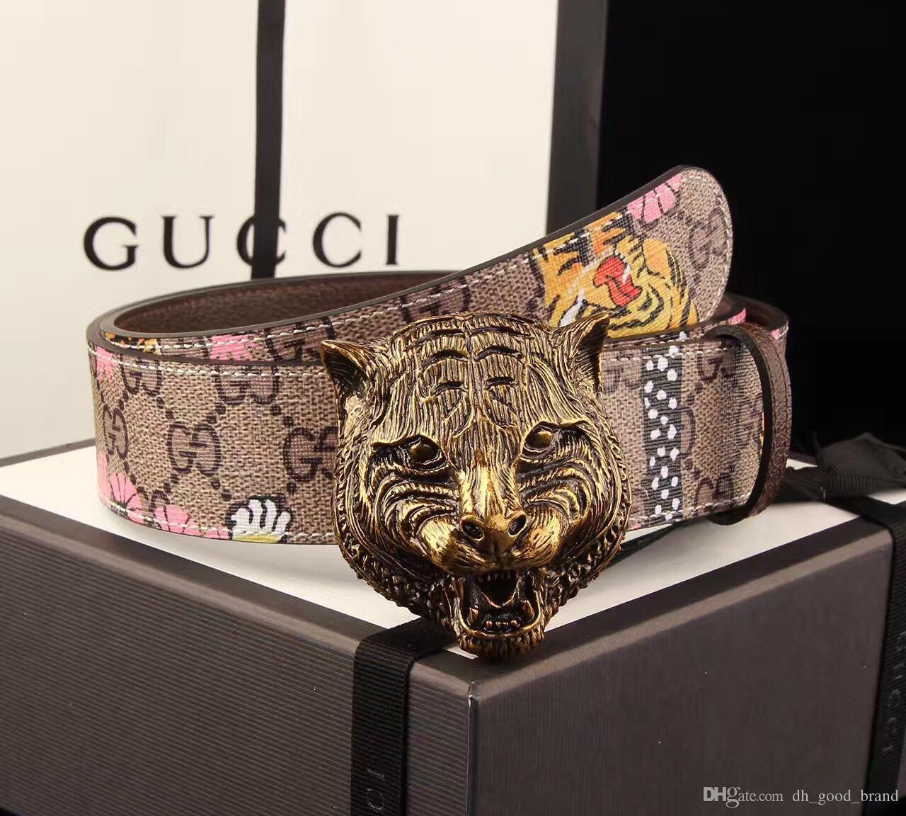 77134fa9559 2018 New Fashion Brand Designer Belt Tiger Buckle Luxury Men s High ...