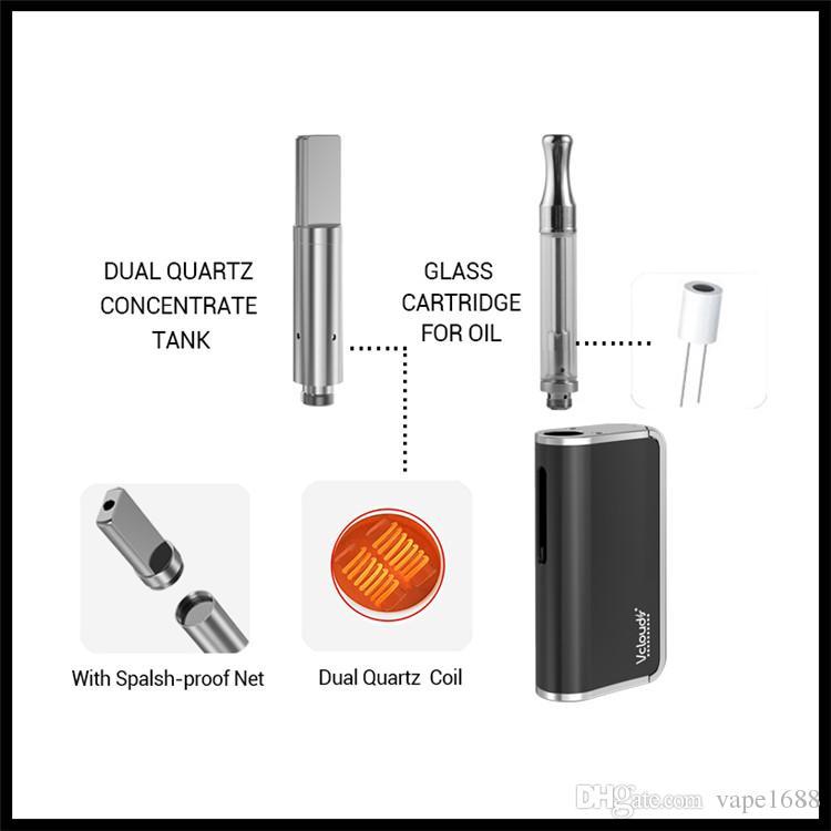 510 co2 huile e cigarette préchauffage mod vaporisateur 4 tension variable cire dab stylo plume 2 en 1 kit de démarrage double bobine de cire de quartz / huile vape