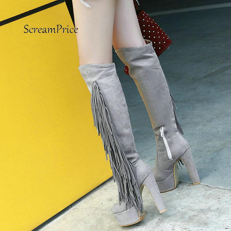 1a06b1f4202 Women Faux Suede Side Zipper Knee High Platform Boots Fashion Fringe Thick High  Heel Winter Warm Boots Black Red Gray Walking Boots Ankle Boot From  Potatoo, ...