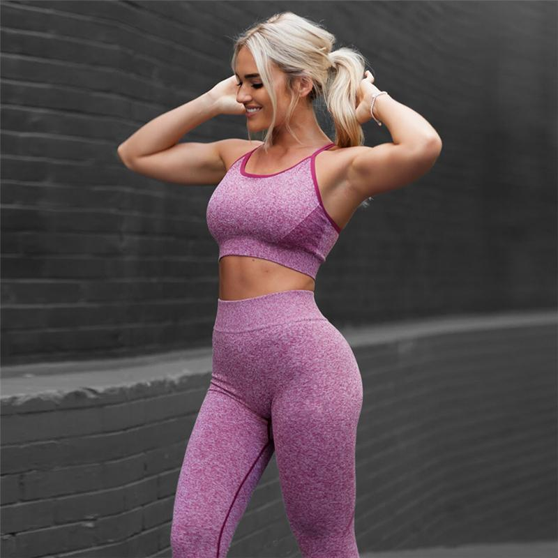 d2b5708c18e6 2Pcs Women Yoga Sets Fitness Sport Bra Yoga Pants Leggings suit, Gym  Running active wear Sport Set Workout Clothes for Female