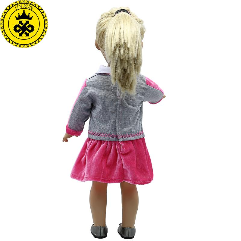 Doll Accessories American Girl Doll Clothes Rabbit Purple School Uniform Dress for 16-18 inch Dolls boneca american girl MG-293