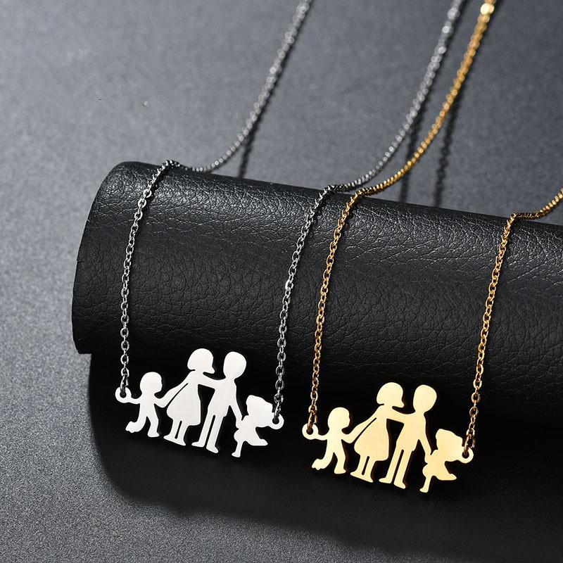 7bb26c4ed743 Compre Collar De Acero Inoxidable Mama Familia Collares Joyería Color Plata  Amor Niño Niña Familia Feliz Colgante Gargantilla Collar A  1.71 Del Sensy  ...
