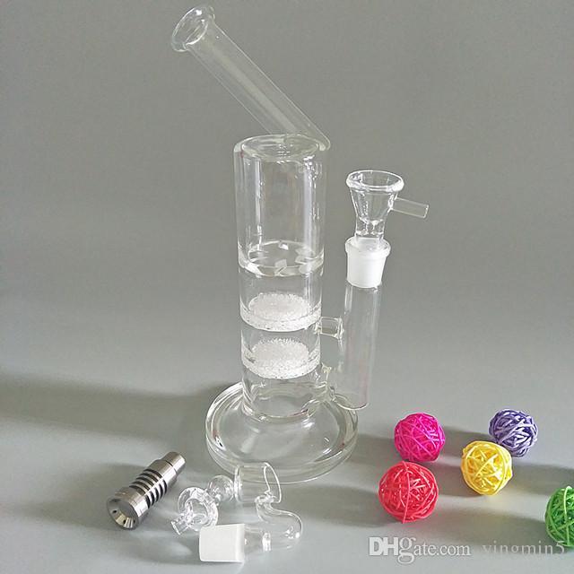 NewHigh qualité bong pipe à eau avec deux disques frittés et turbine perc titane ongles quartz bangerbowl sidecar rig dab clou GB-444-1