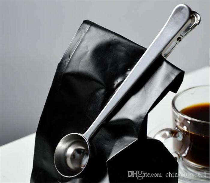 Stainless Steel Ground Coffee Measuring Scoop Spoon With Bag Seal Clip Silver C047