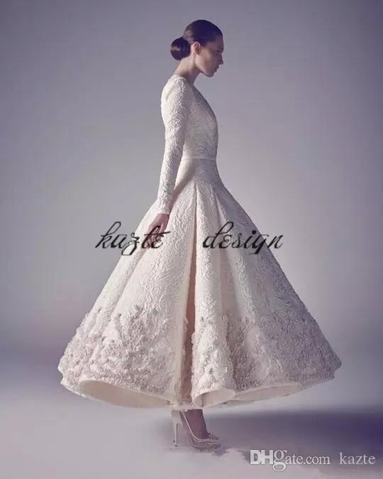 Ashi Studio Evening Prom Dresses Pure White 2018 Hot Sale Long Sleeve Deep V Neck Lace Beading Appliqued Personalized party Guest Dresses