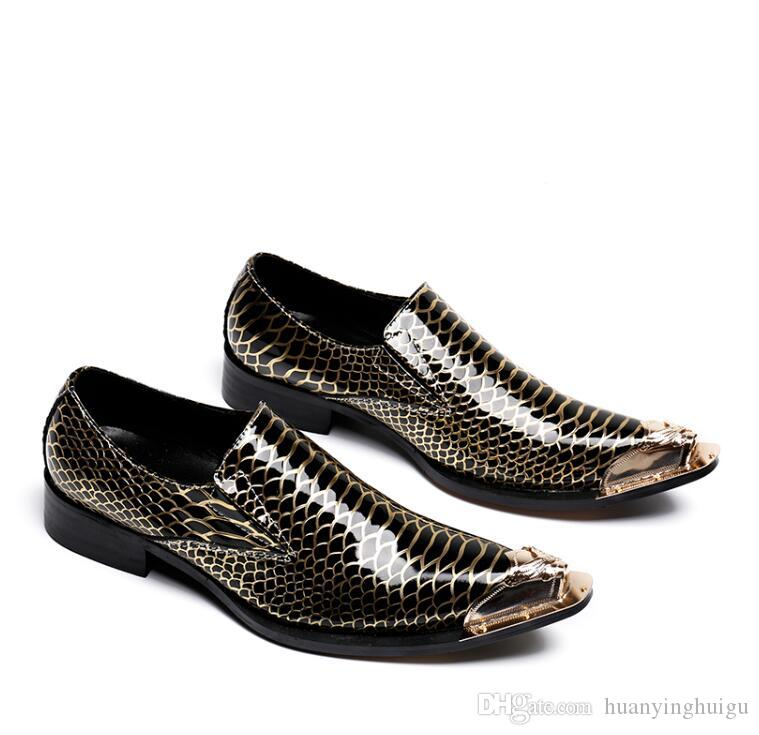 2018 Hot Style Fashion Men Slip-On Oxford Shoes Formal Dress Flats Metal Pointed Toe Business Wedding Shoes Man Flat Creepers N95