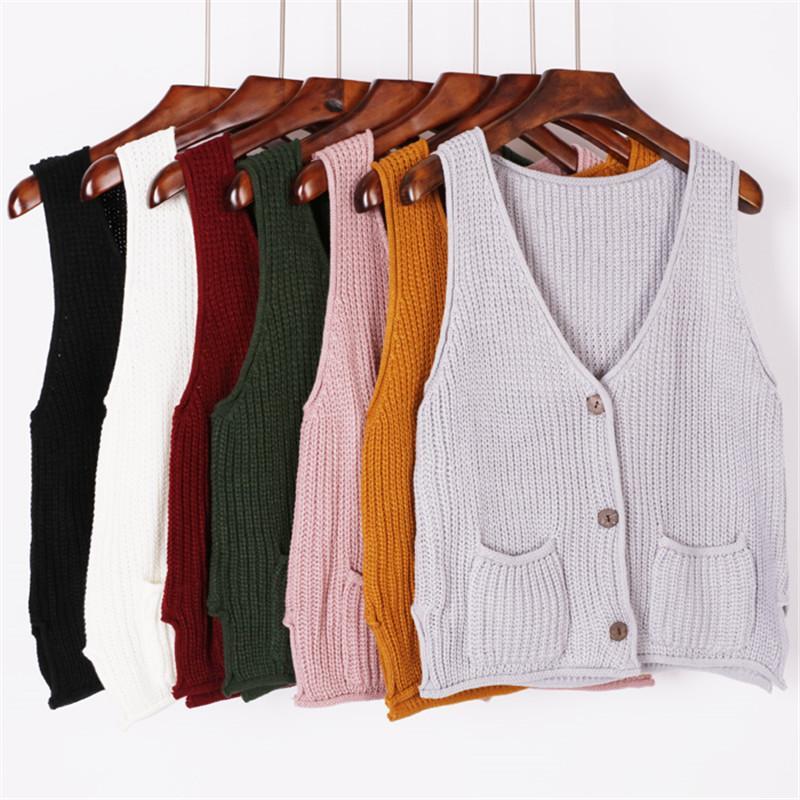 reputable site e524f b9384 Korean Pullover Frauen Khaki Lila Grün Gelb Braun Schwarz Pullover Weste  Damen Mädchen Frühling Winter Strickjacke