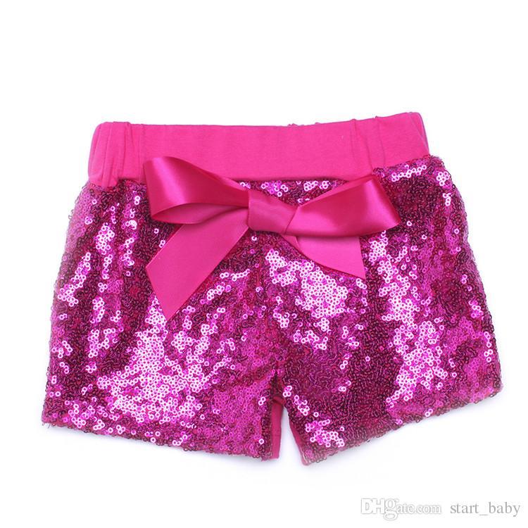 Bebê criança shorts de lantejoulas para o verão meninas cetim bowknot calças curtas crianças boutique shorts das crianças doces calças ouro hot pink azul preto