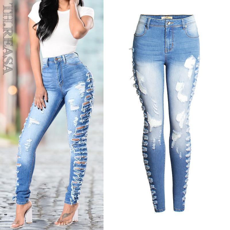 Compre Tallas Grandes Jeans Desgastados Flacos Mujeres Elásticos Pantalones  Vaqueros Desgarrados Lado Lateral Desgastado Lápiz Pantalones Pantalones  Para ... bc2172767755