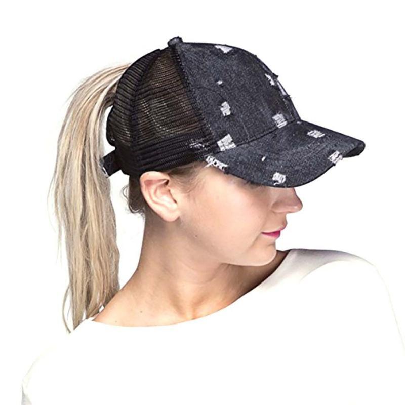 e68cf780f6b New Outdoor Sunshade Ponytail Baseball Cap 2018 Fashion Jean Tennis ...