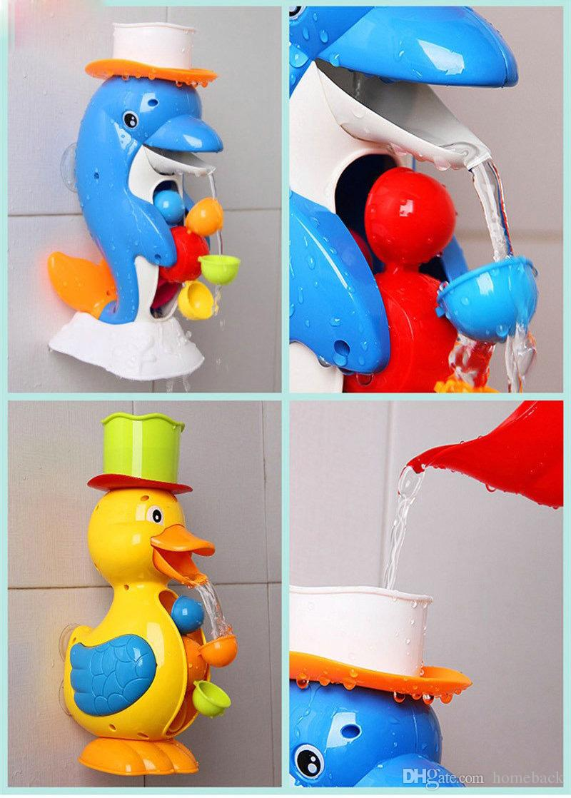Kids Shower Bath Toys Cute Duck Waterwheel Dolphin Toys Baby Faucet Bathing Water Spraying Toy Wheel Type Dabbling Toy