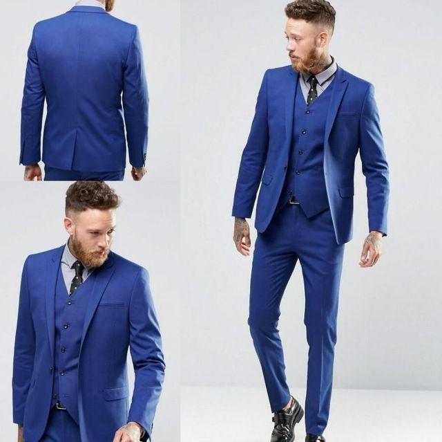 Royal Blue Wedding Tuxedos Groom Sui Men s Business Suit Jacket Pants Vest  Men s Suits One Buttons Groom Groomsmen Tuxedos Party