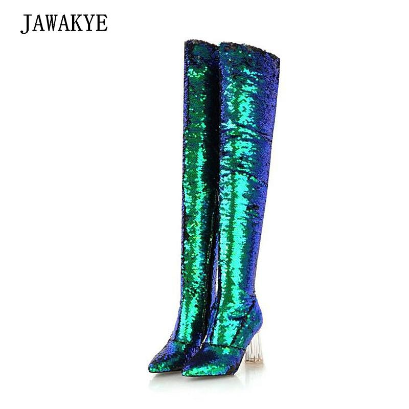 54553948809 JAWAKYE Shiny Green Gold Glitter Stretch Thigh High Boots Women Chunky  Clear High Heels Point Toe Winter Shoes Party Long Botas Peep Toe Booties  Cat Boots ...