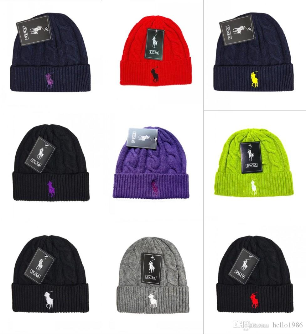 64a9470e 2019 Hot Fashion Unisex Spring Winter Hats for Men women Knitted Beanie  Wool Hat Man Knit Bonnet Polo Beanie Gorros touca Thicken Warm Cap