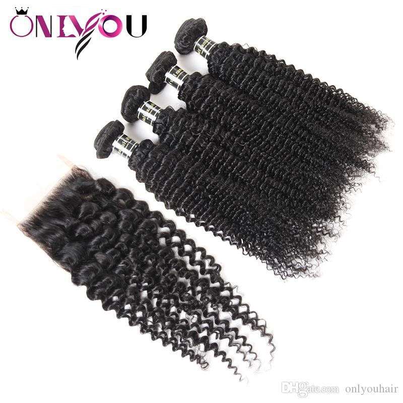 Mongolian Kinky Curly Human Hair Weave 4 Bundles with 4x4 Lace Closure and 13x4 Lace Frontal Bundles Cheap Hair Extensions Wholesale Deals