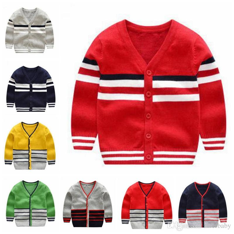 93d5b8337ca2 Kids Knit Cardigan Boys Stripe Sweater Spring Autumn Long Sleeved ...