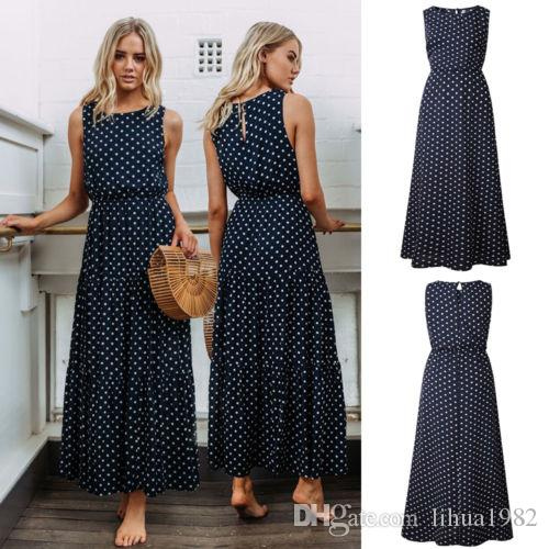 fa1b95ea6 Womens Stretchy Ladies Beach Spotted Swing Pleated Casual Maxi Long Dress  Women Sundress Juniors Party Dress From Lihua1982, $4.02  DHgate.Com