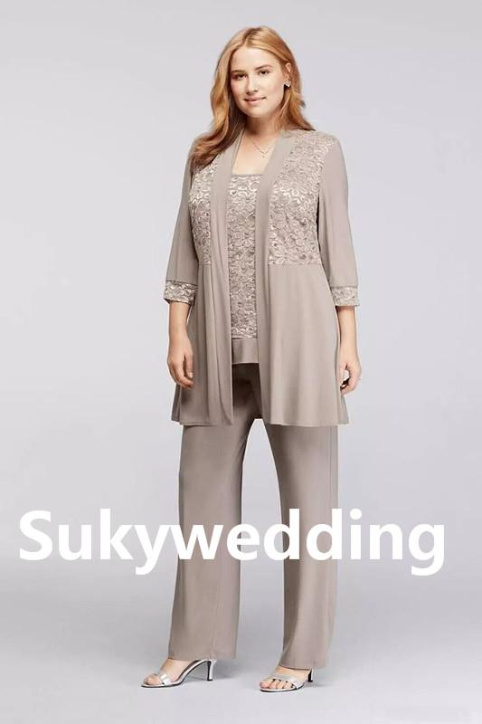 Grey Mother of the Bride Pants Suit Chiffon Long Sleeves Three Pieces Appliques Plus Size Lace Mother Suits free Jacket Ankle Length