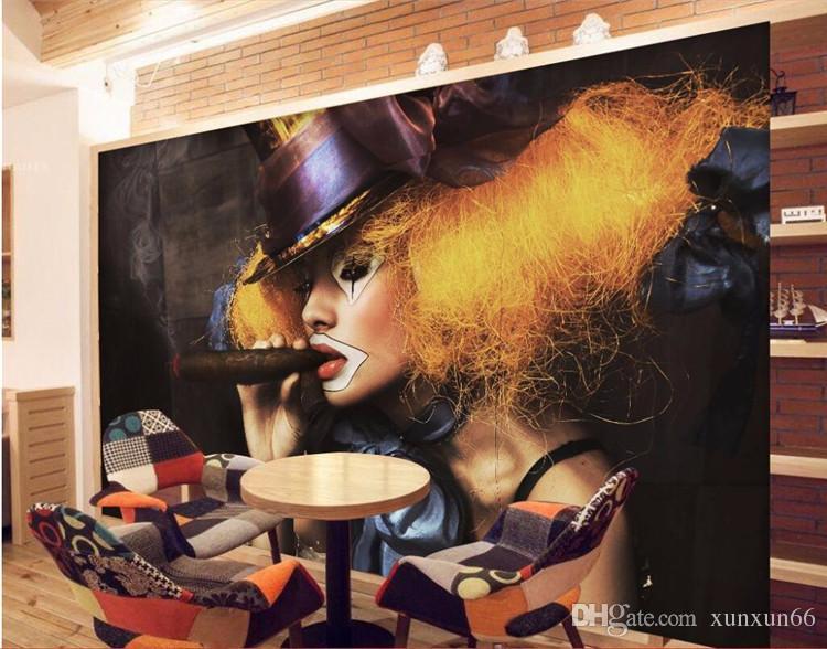 3D Sexy girl tabagismo discoteca boate bar KTV Cafe arte da parede revestimento de parede murais-3d papel de parede decoração da sua casa