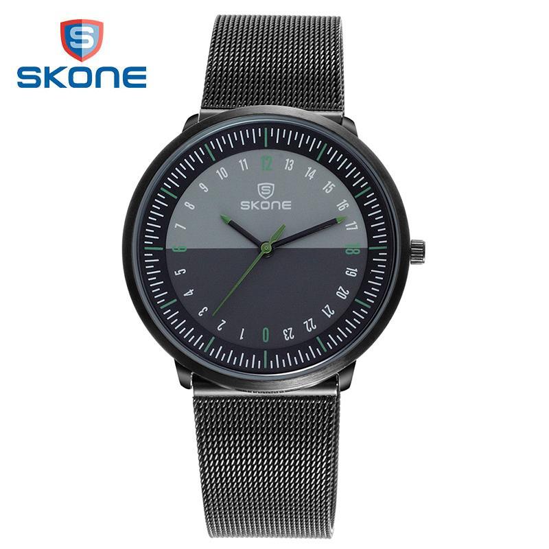 69daf7fd2212 Compre SKONE Relojes De Pulsera Para Hombre Relojes Ultradelgados Para Hombres  Reloj De Cuarzo Malla De Acero Inoxidable Día Noche 24 Horas Para Hombre ...