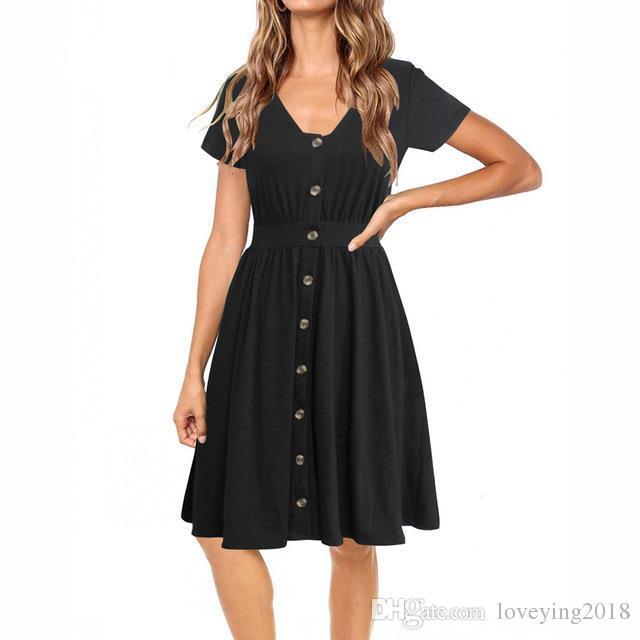 fdc9001749d2 Casual Frauen Kleid V-Ausschnitt Kurzarm A-Linie Vestidos Tasten mit kurzen  Ärmeln Sommer elegante weibliche schwarze Kleider 2018