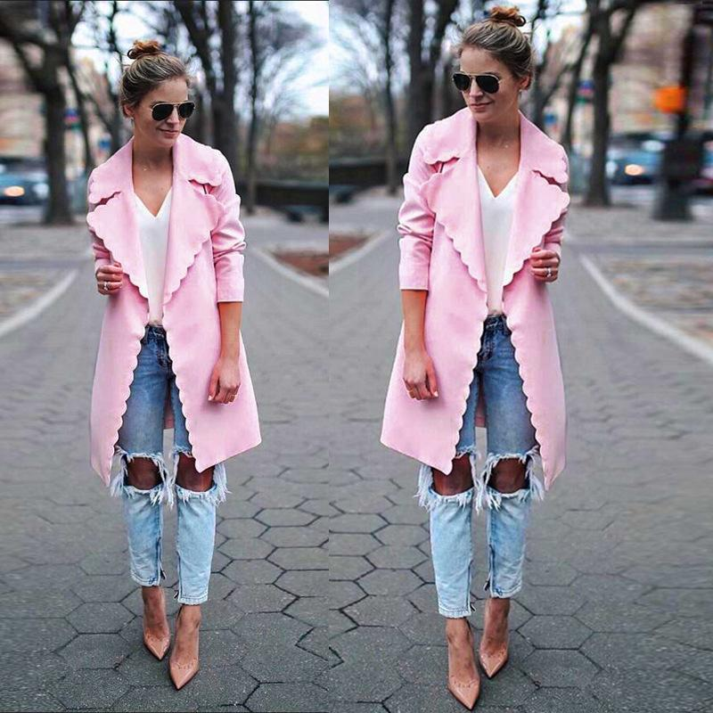 b1540c91a 2019 Women Fashion Sweet Wavy Edge Design Lapel Long Cardigan Coat Jacket  Ladies Elegant Pink Long Sleeve Trench Coats Outwear Tops From Bailanh