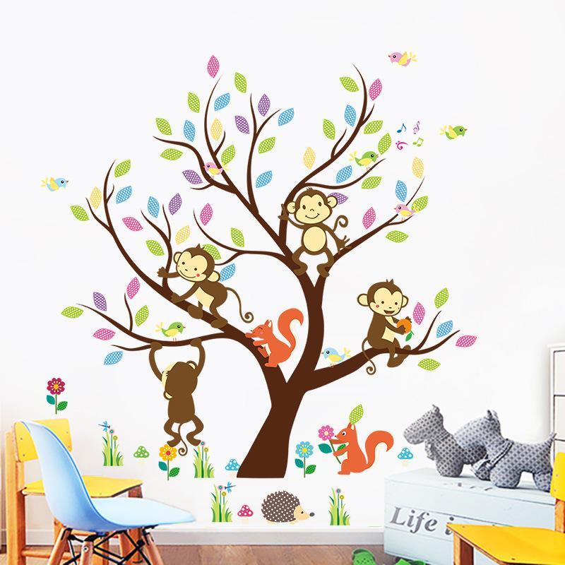 Hot New Cartoon Children S Room Kindergarten Owl Branch Monkey 3d Wall Sticker Wall Painting