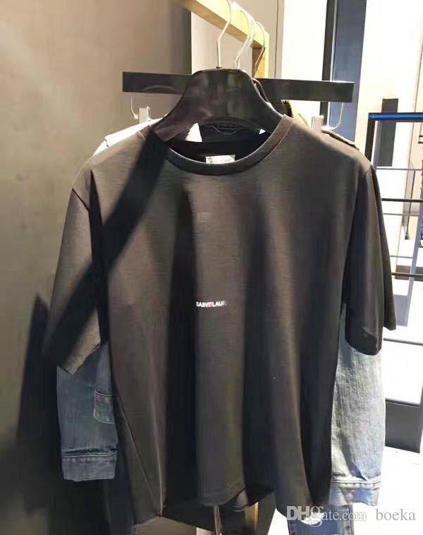 2018SS Fashion Letter Design Men's Casual Cotton short sleeve SAIN LAURE T Shirts Women Slim Asian size S-XL