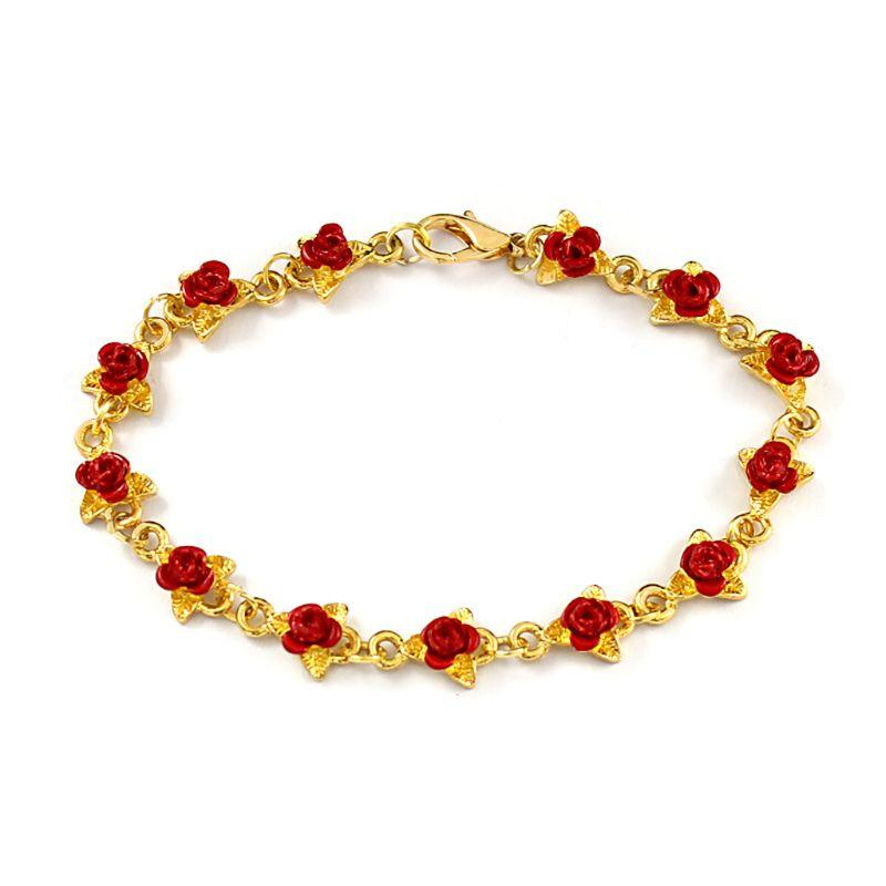 b096fa62ea60 Red Rose Flower Charm Bracelets Women Gold In Rhodium Plating Fashion  Jewelry Gold Bracelet Custom Bracelets From Luney
