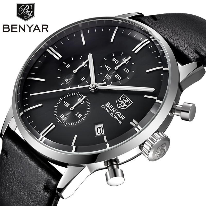 96fe54228e5 Compre Relógios Homens Marca De Luxo Benyar Genuíno Relógio De Quartzo De  Couro Masculino Mergulho 30 M Relógios De Pulso Casual Sport Watch Relogio  ...