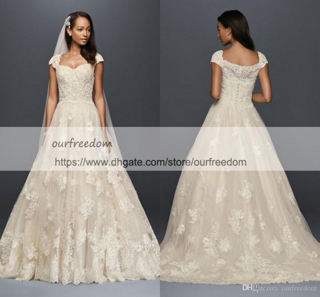 99fea041972e9 Oleg Cassini 2018 Cap Sleeve Lace Wedding Ball Gown With Beading Back Cover  Buttons Lace Appliques Sweep Train Sweetheart Bridal Gowns Ball Gown Wedding  ...