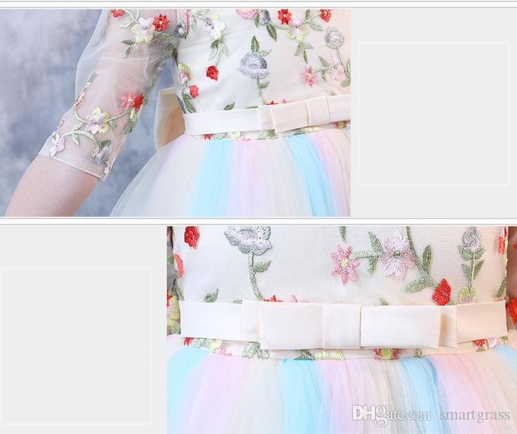 Embroidered Girls Formal Dresses Half Sleeve Baby Girl Clothes Princess Tutu Party Dresses 18032701