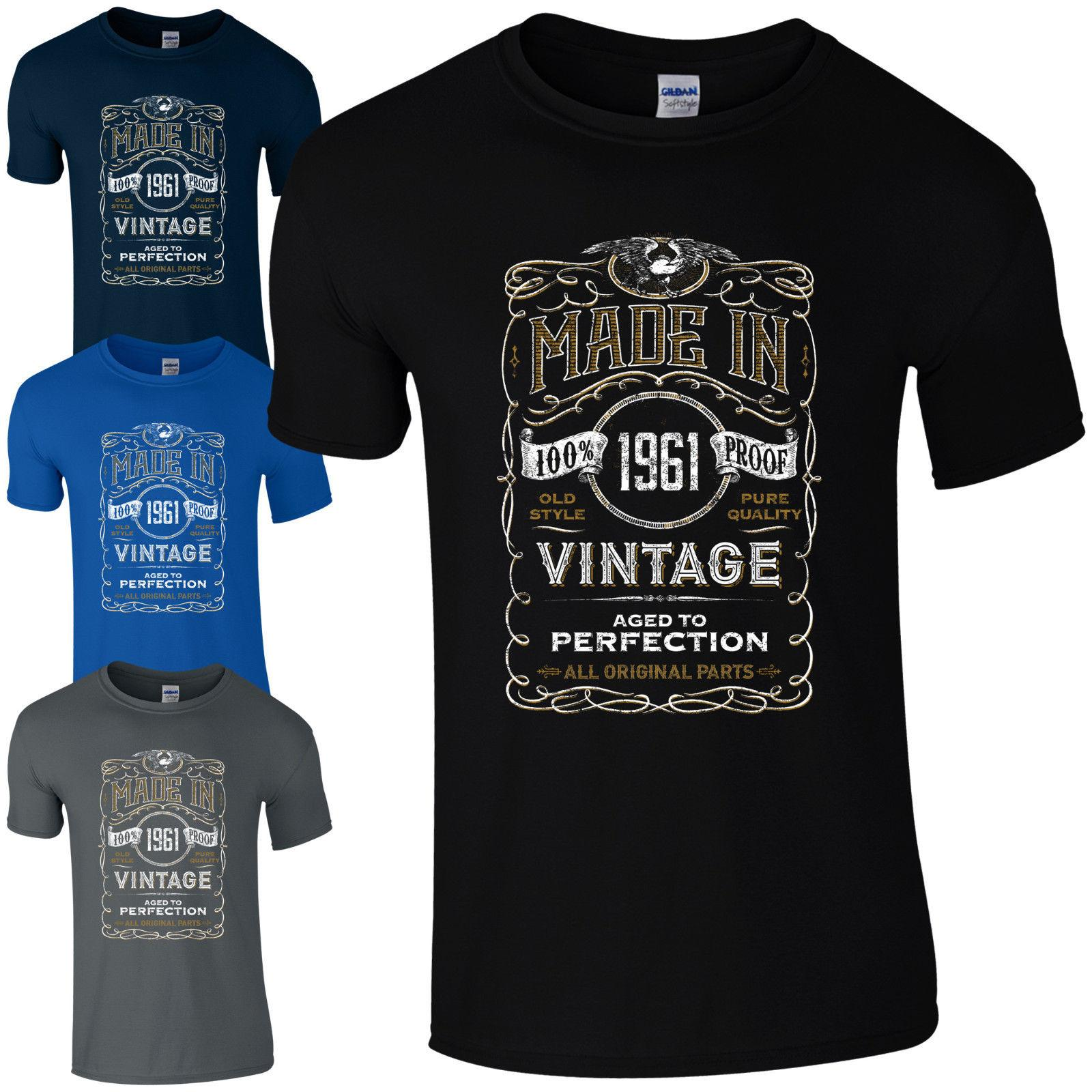 Made In 1961 T Shirt Born 57th Year Birthday Age Present Vintage Funny Mens Gift Cheap Shirts For Sale Online One Day Only From Xuthusstore